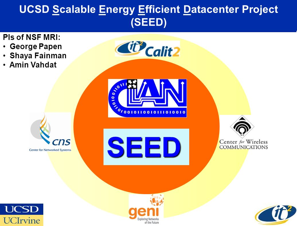 UCSD Scalable Energy Efficient Datacenter Project (SEED)
