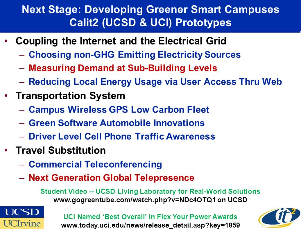 Next Stage: Developing Greener Smart Campuses Calit2 (UCSD & UCI) Prototypes