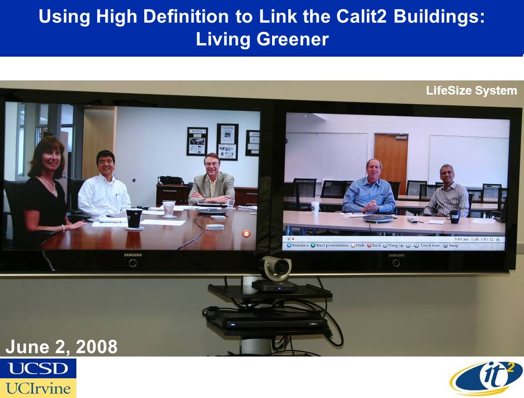 Using High Definition to Link the Calit2 Buildings: Living Greener
