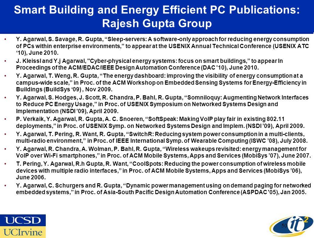 Smart Building and Energy Efficient PC Publications: Rajesh Gupta Group