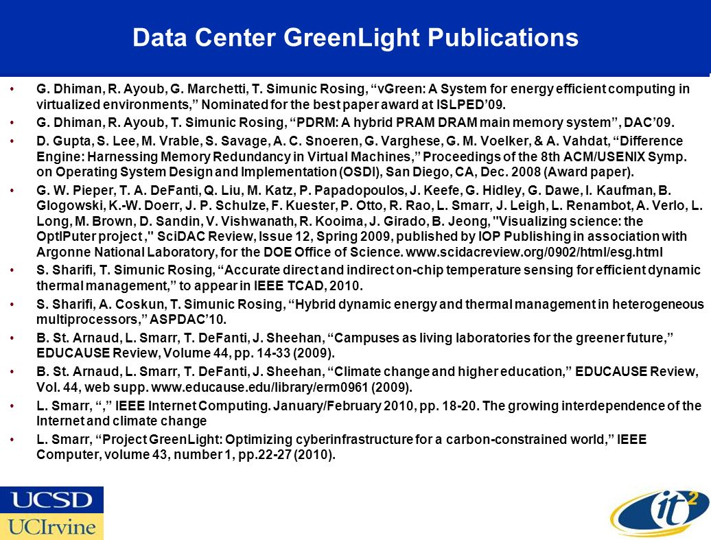 Data Center GreenLight Publications