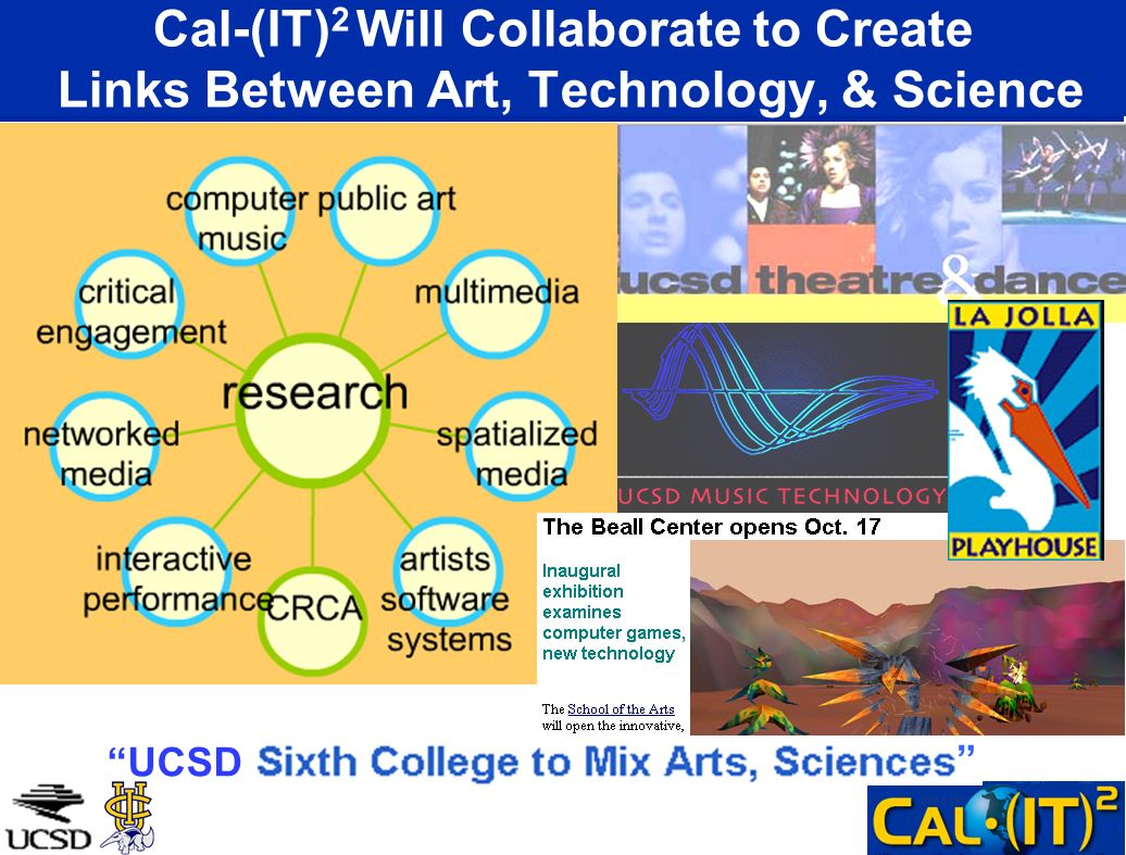 Cal-(IT)2 Will Collaborate to Create Links Between Art, Technology, & Science