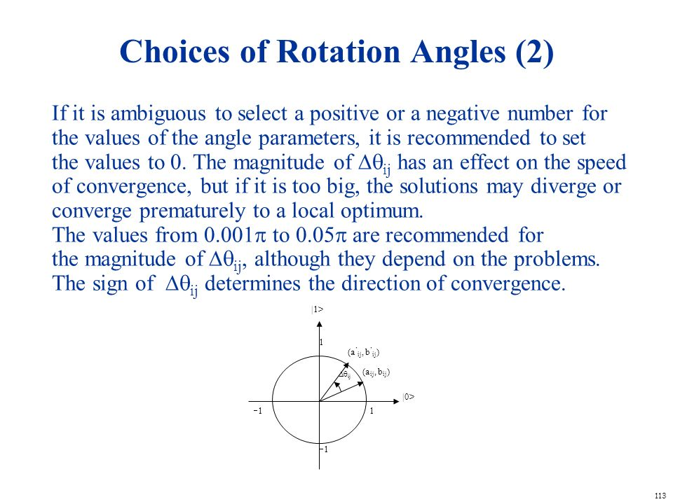 Choices of Rotation Angles (2)