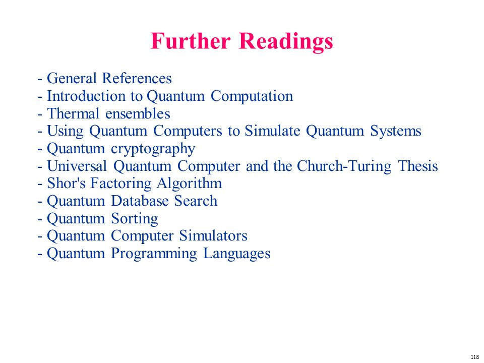 Further Readings