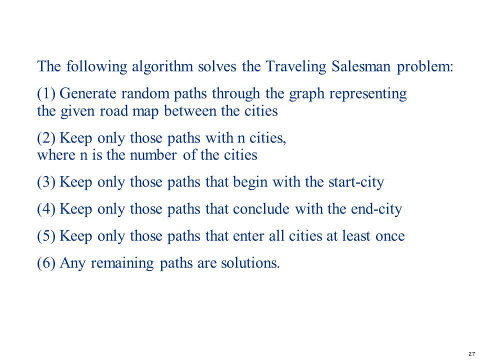 The following algorithm solves the Traveling Salesman problem: