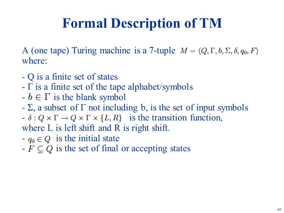 Formal Description of TM