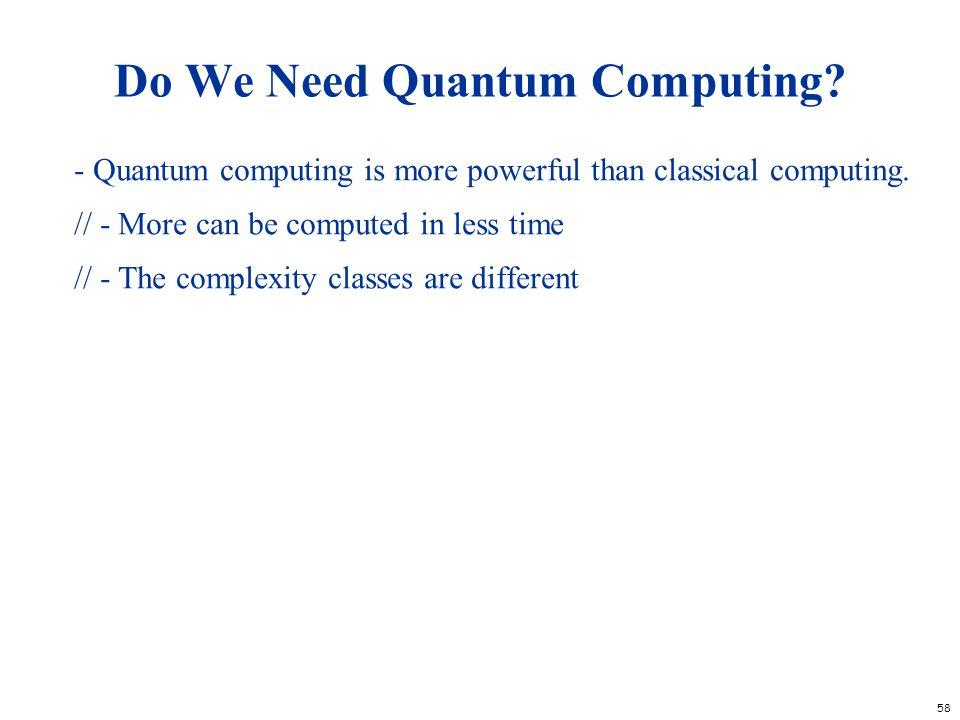 Do We Need Quantum Computing