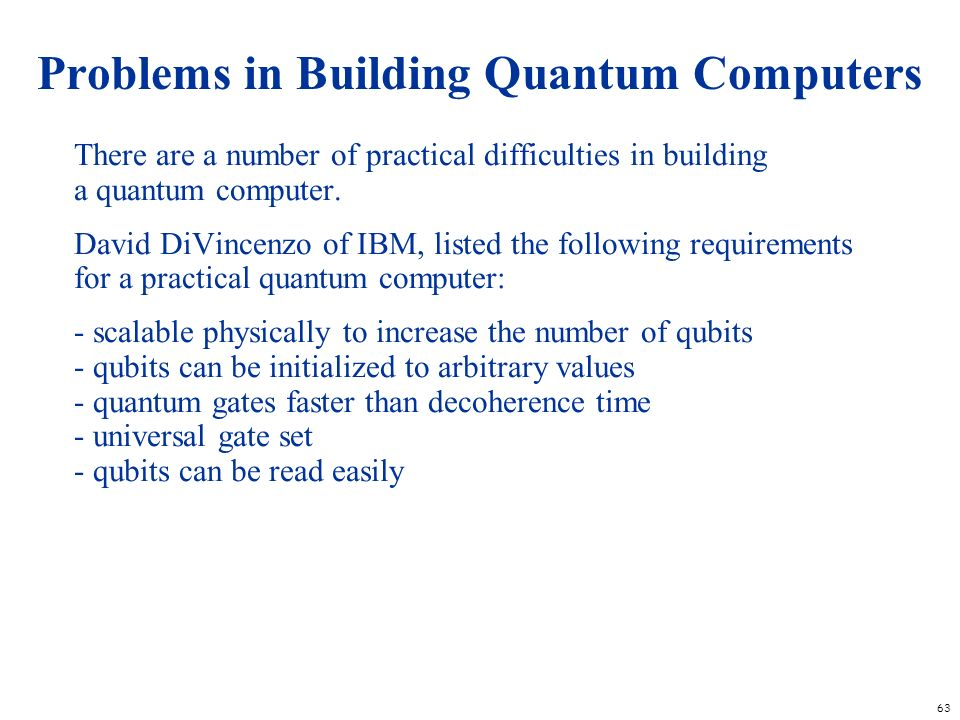 Problems in Building Quantum Computers