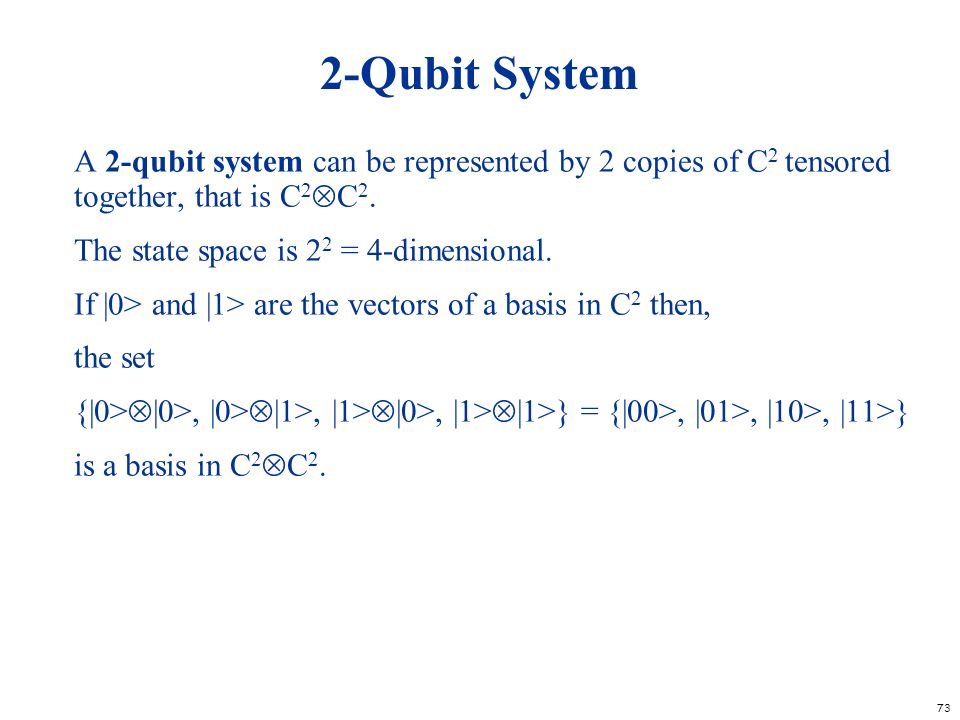 2-Qubit System A 2-qubit system can be represented by 2 copies of C2 tensored together, that is C2C2.