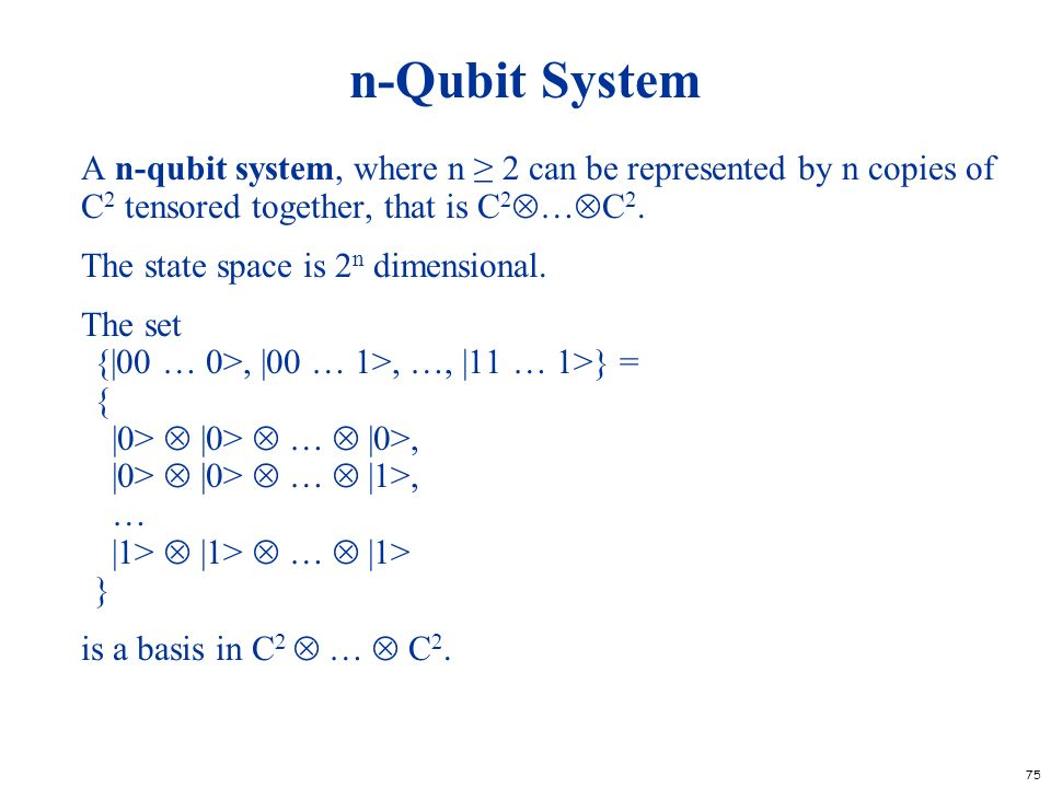 n-Qubit System A n-qubit system, where n ≥ 2 can be represented by n copies of C2 tensored together, that is C2…C2.