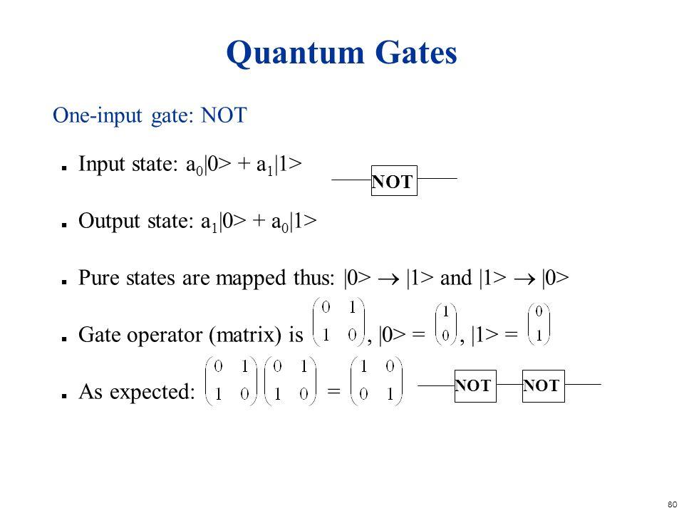 Quantum Gates One-input gate: NOT Input state: a0|0> + a1|1>