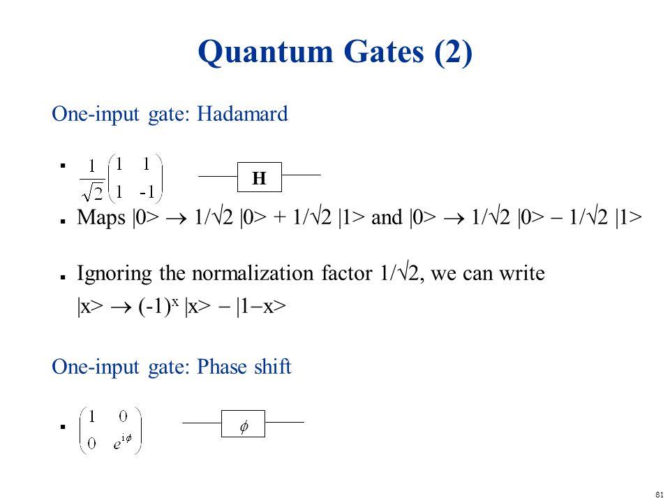Quantum Gates (2) One-input gate: Hadamard h