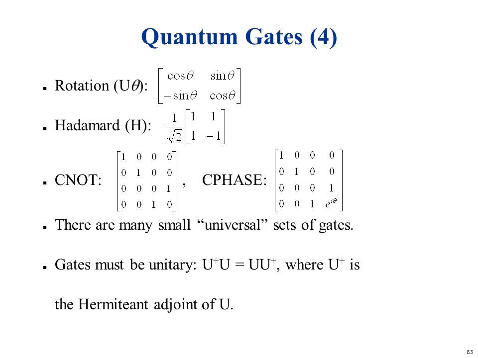 Quantum Gates (4) Rotation (U): Hadamard (H): CNOT: , CPHASE: