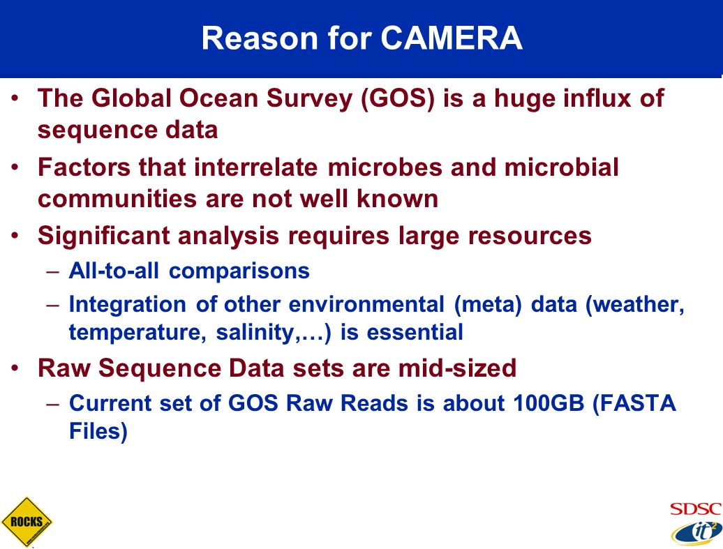Reason for CAMERA The Global Ocean Survey (GOS) is a huge influx of sequence data.