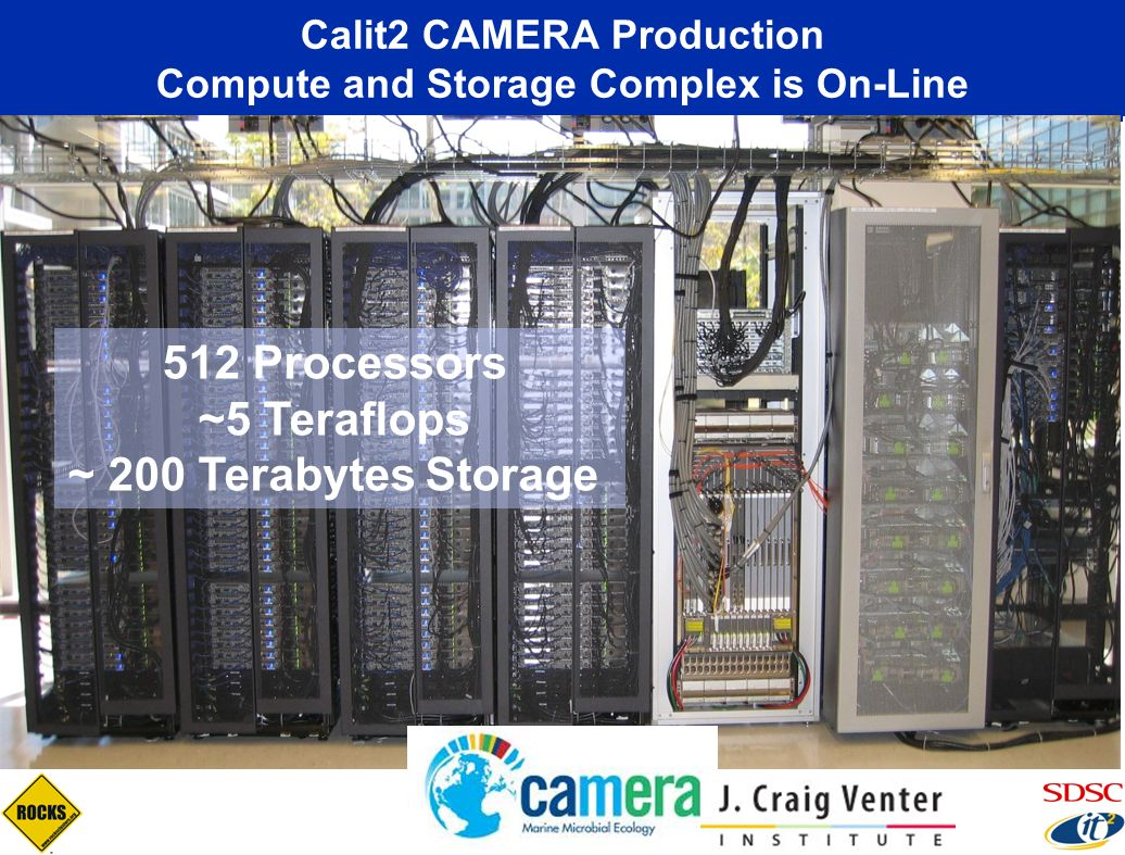 Calit2 CAMERA Production Compute and Storage Complex is On-Line