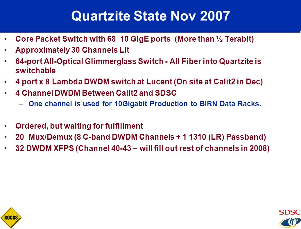 Quartzite State Nov 2007 Core Packet Switch with 68 10 GigE ports (More than ½ Terabit) Approximately 30 Channels Lit.