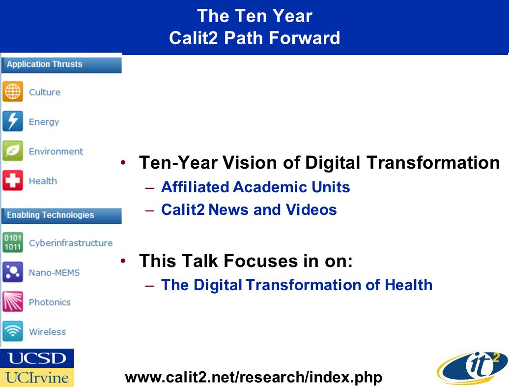 The Ten Year Calit2 Path Forward