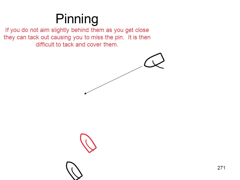 Pinning If you do not aim slightly behind them as you get close they can tack out causing you to miss the pin.