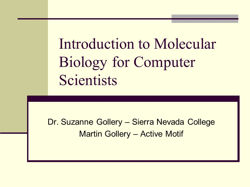 Introduction to Molecular Biology for Computer Scientists