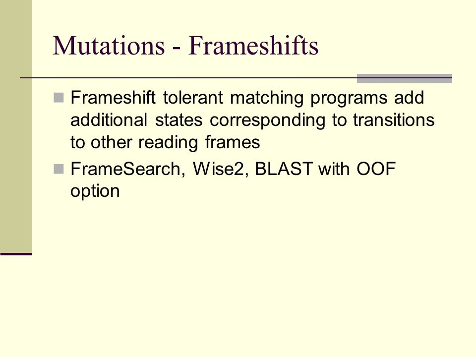 Mutations - Frameshifts