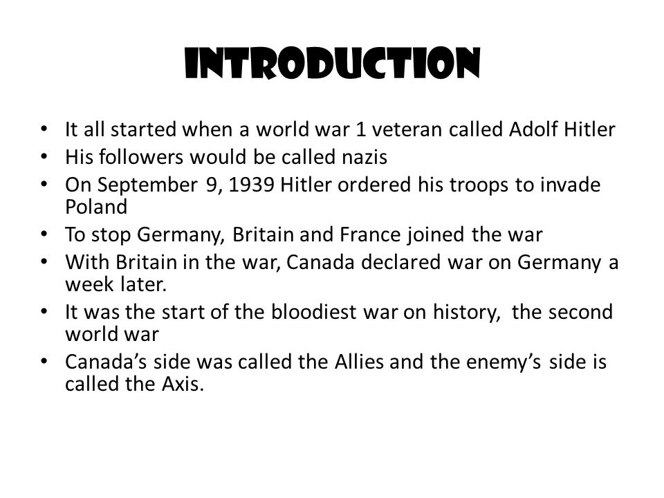 an introduction to the history of the second world war A brief history of the first and second world wars  it is often said that the second world war was simply a continuation of the first world war as the early .