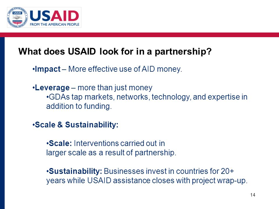 What does USAID look for in a partnership