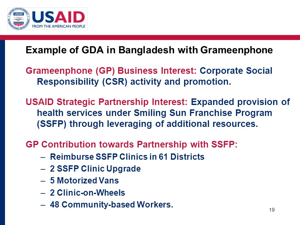 Example of GDA in Bangladesh with Grameenphone