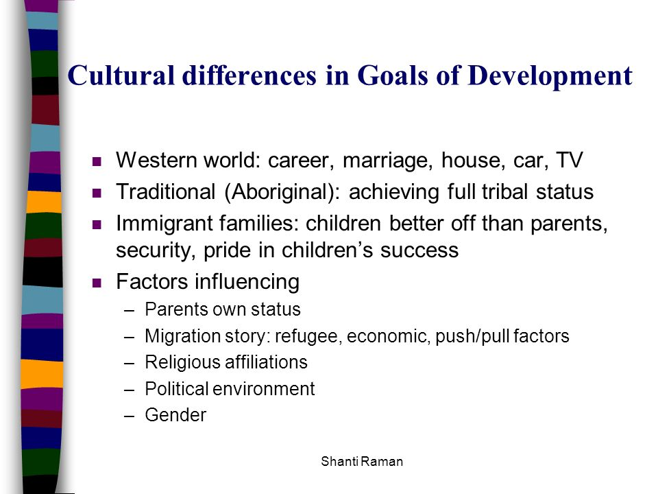 Cultural differences in Goals of Development