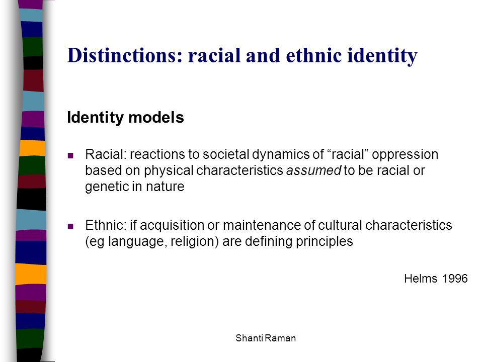 Distinctions: racial and ethnic identity