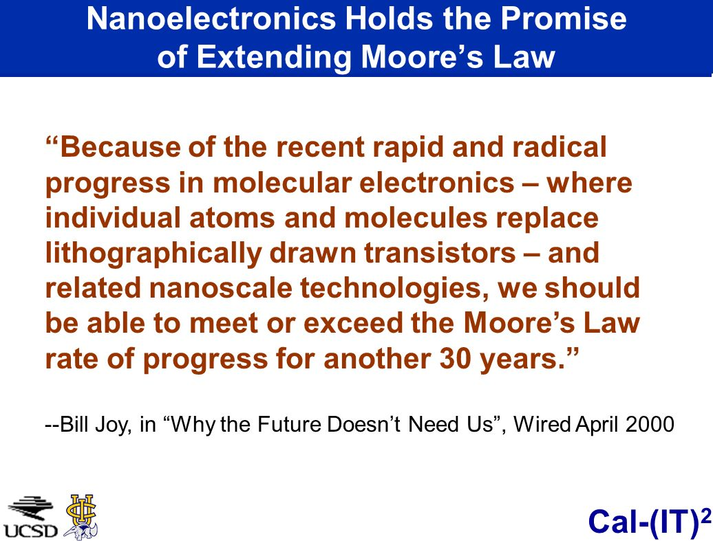 Nanoelectronics Holds the Promise of Extending Moore's Law