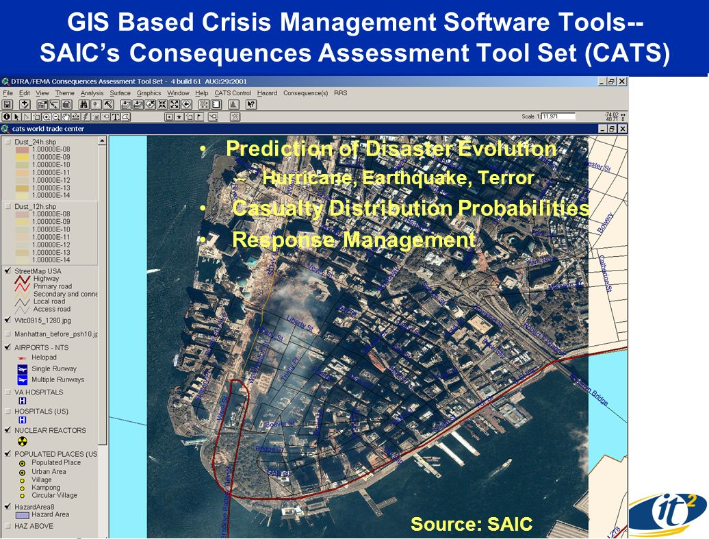 GIS Based Crisis Management Software Tools-- SAIC's Consequences Assessment Tool Set (CATS)