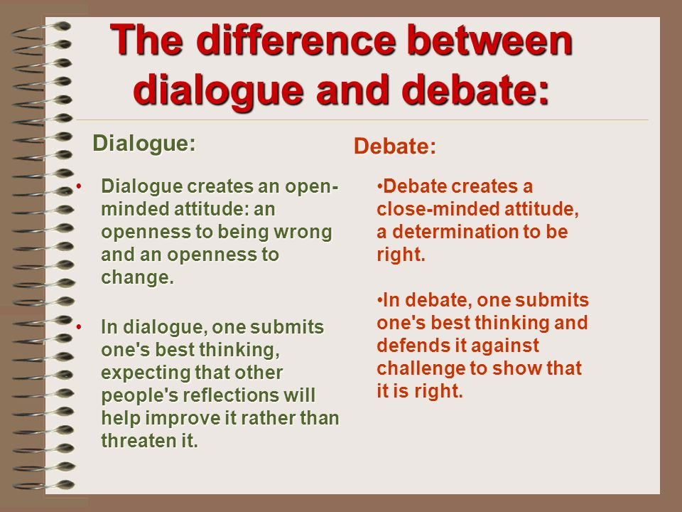 The difference between dialogue and debate: