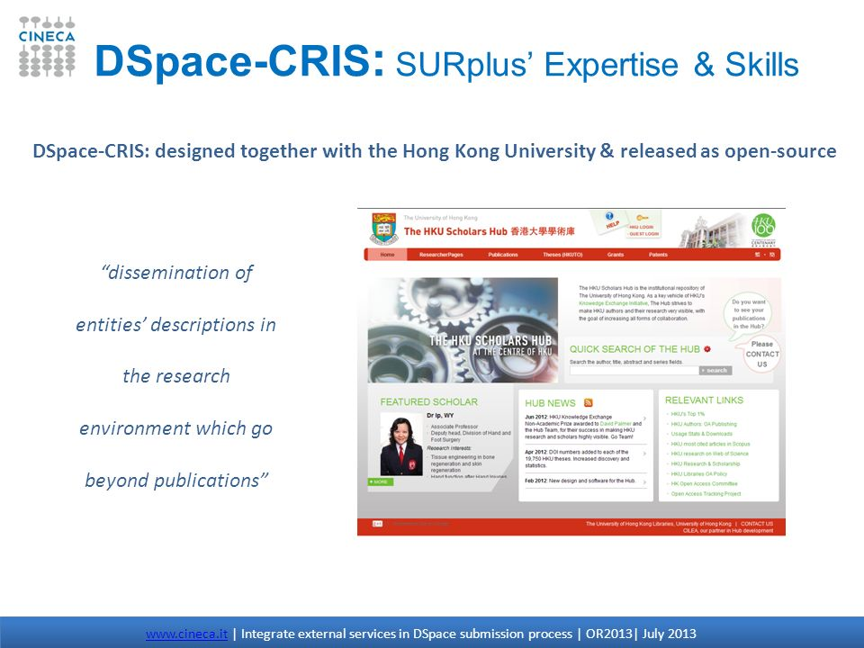 DSpace-CRIS: SURplus' Expertise & Skills