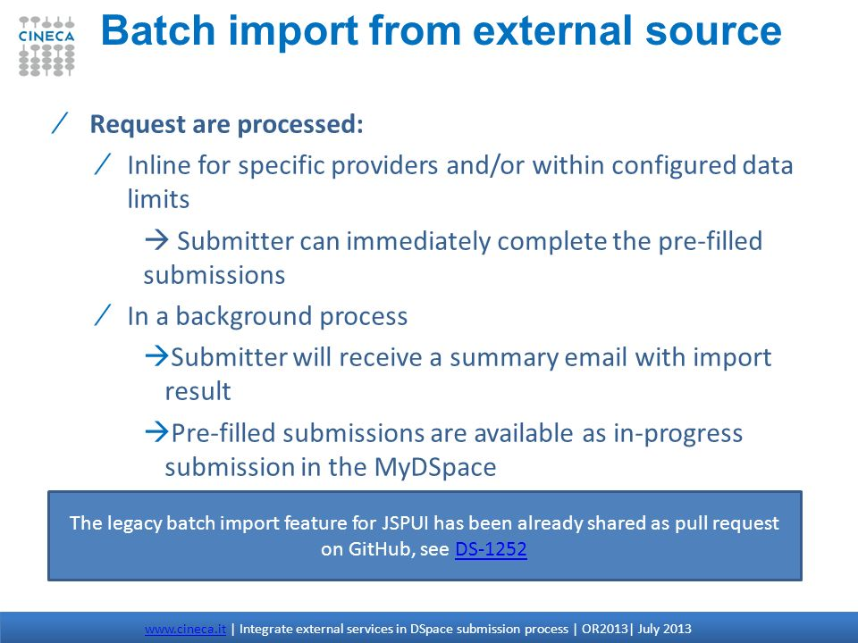 Batch import from external source