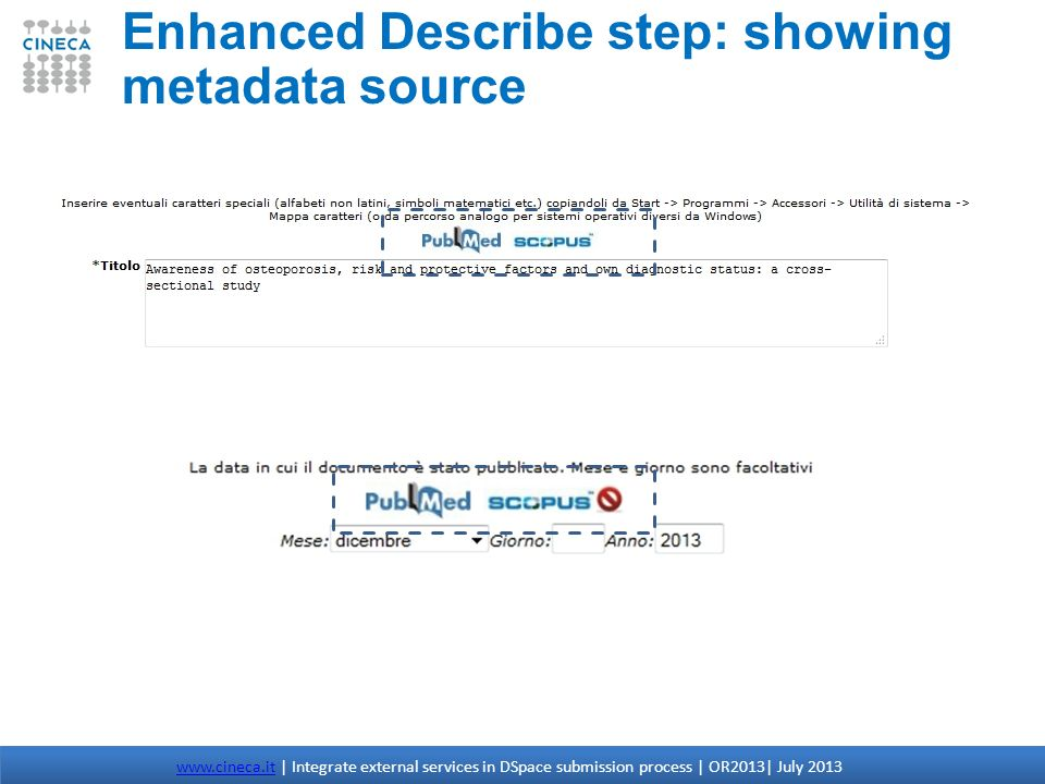 Enhanced Describe step: showing metadata source