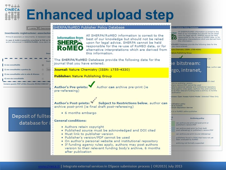 Enhanced upload step Access policy for the bitstream: