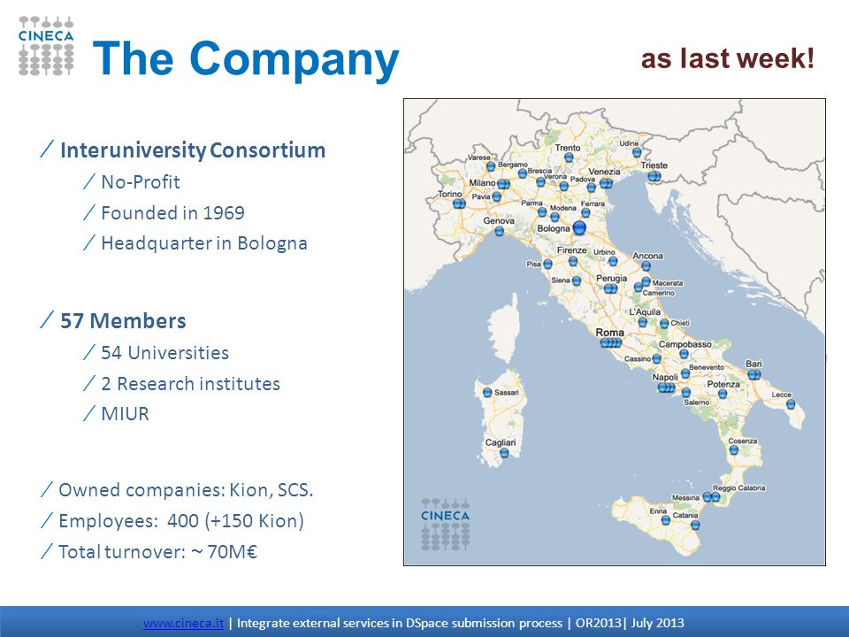 The Company as last week! Interuniversity Consortium 57 Members
