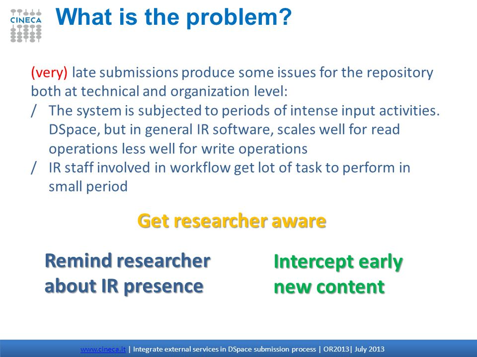 What is the problem Get researcher aware