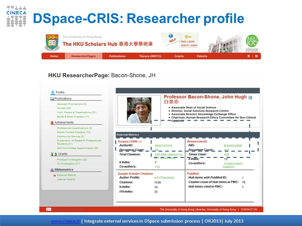 DSpace-CRIS: Researcher profile