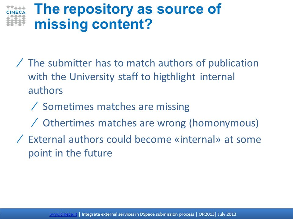 The repository as source of missing content