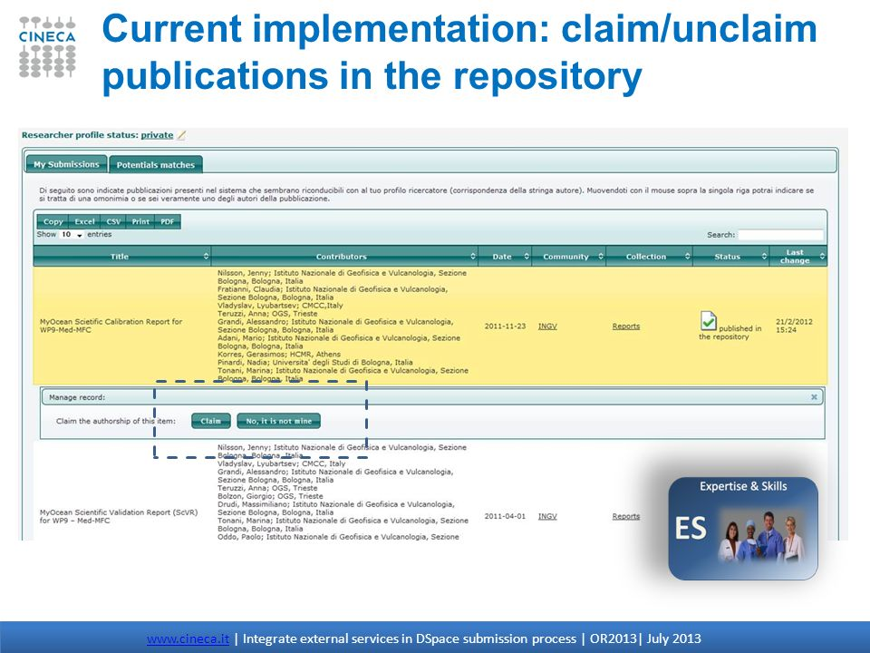 Current implementation: claim/unclaim publications in the repository