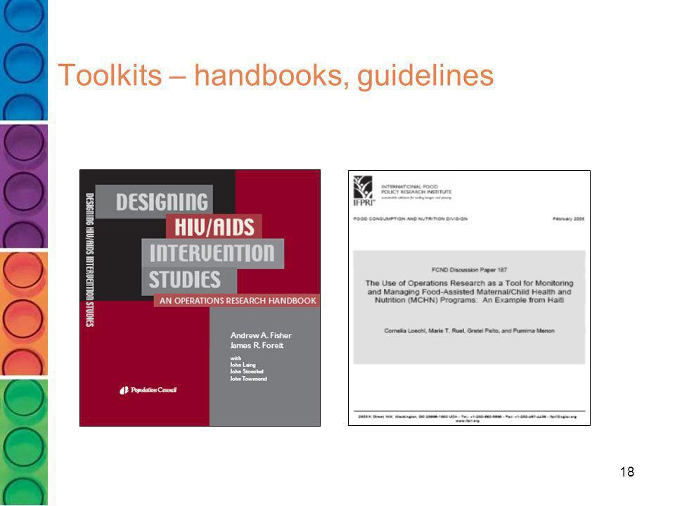 Toolkits – handbooks, guidelines