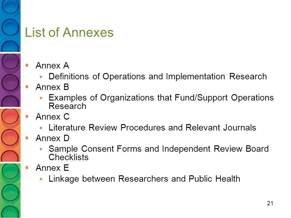 List of Annexes Annex A. Definitions of Operations and Implementation Research. Annex B.
