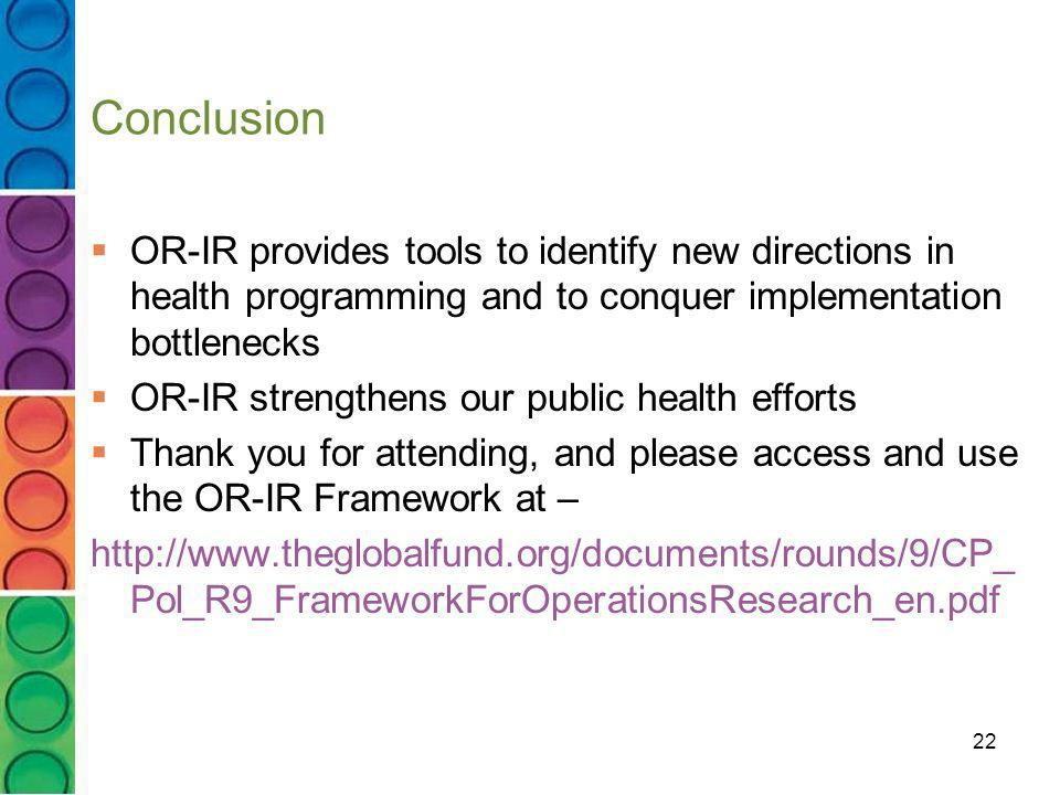 Conclusion OR-IR provides tools to identify new directions in health programming and to conquer implementation bottlenecks.