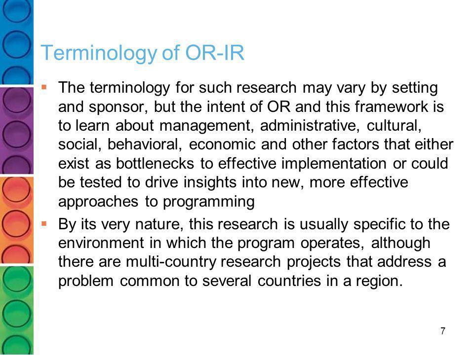 Terminology of OR-IR