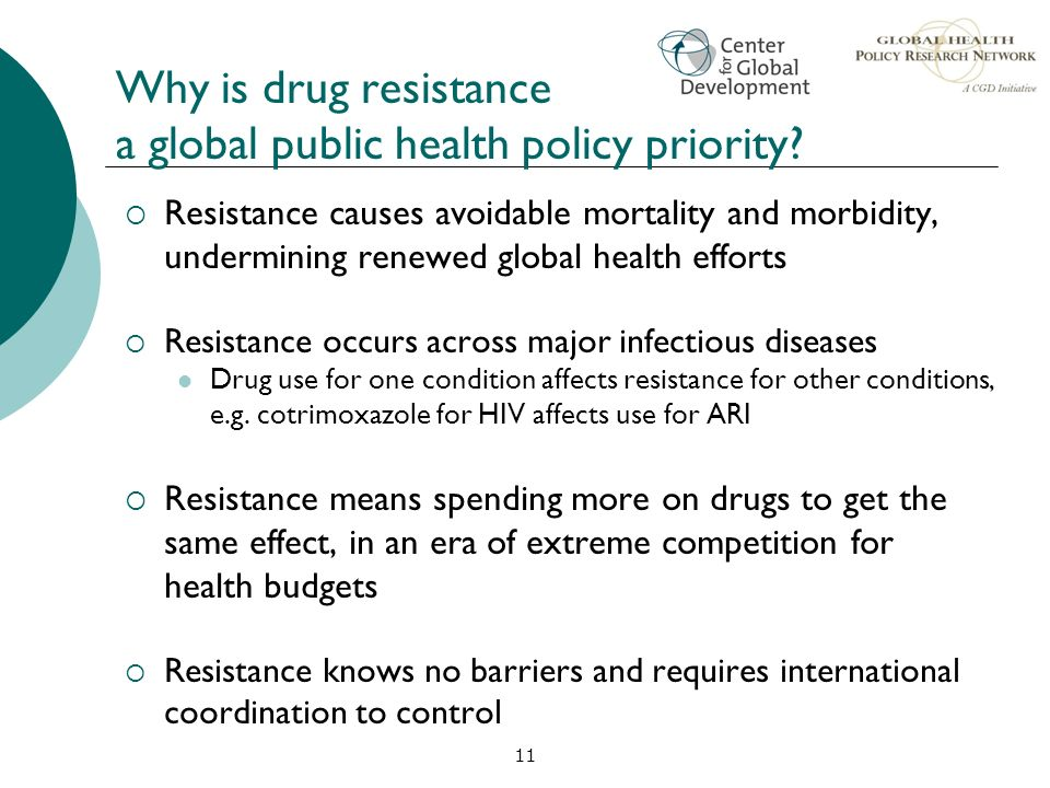 Why is drug resistance a global public health policy priority