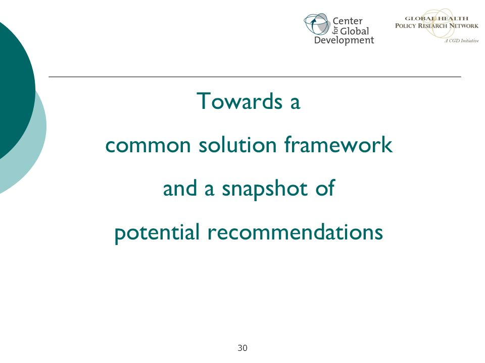 common solution framework and a snapshot of potential recommendations