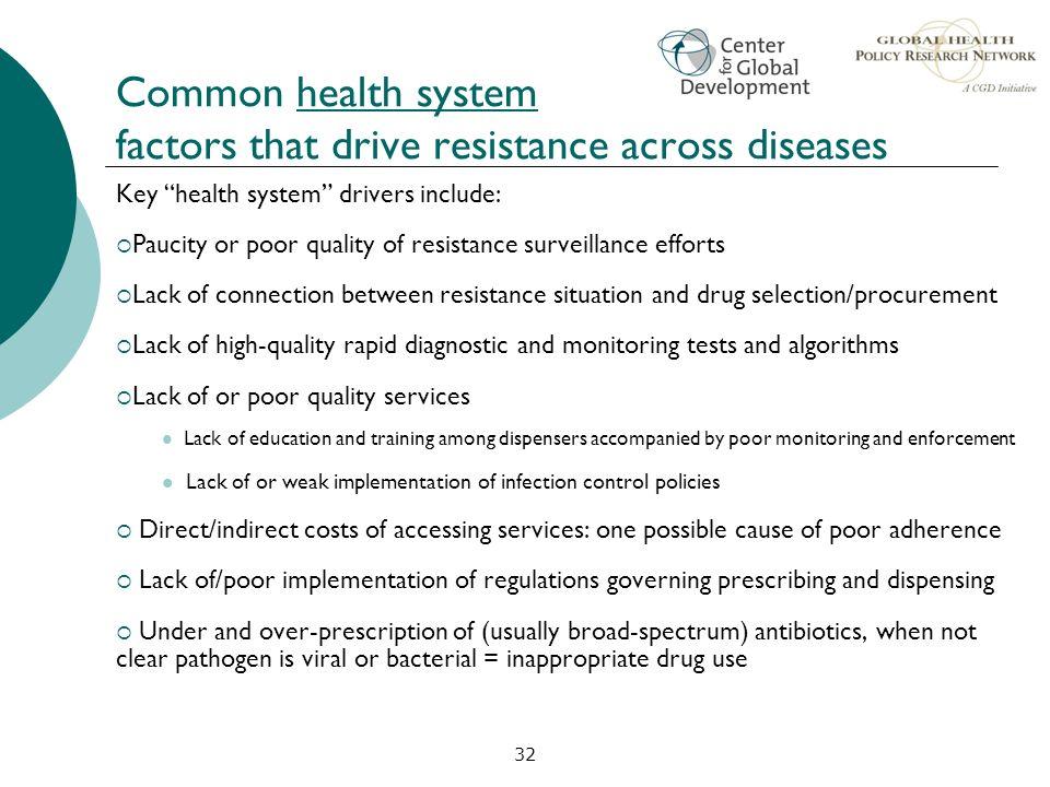 Common health system factors that drive resistance across diseases
