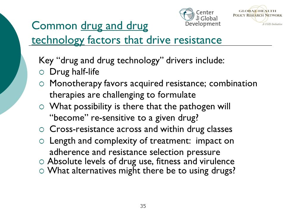 Common drug and drug technology factors that drive resistance