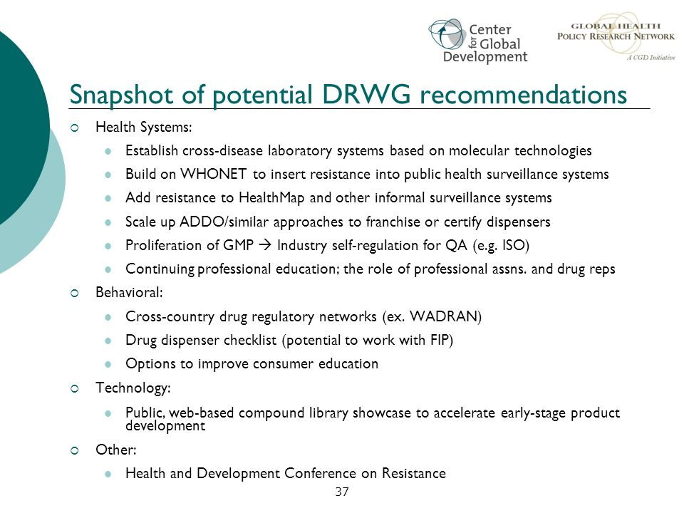 Snapshot of potential DRWG recommendations